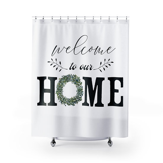 White Farmhouse Wreath Shower Curtain, Welcome to Our Home Fabric Liner