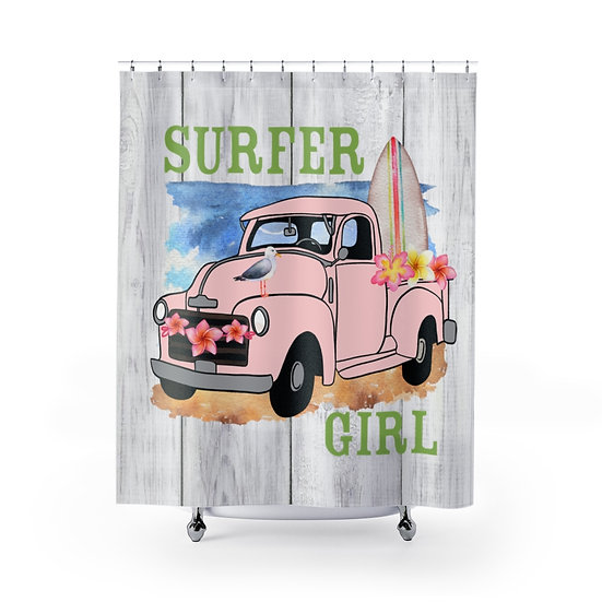 Shower Curtain, Surfer Girl Shower Curtain, Pink Truck Surf Boards Fabric Liner