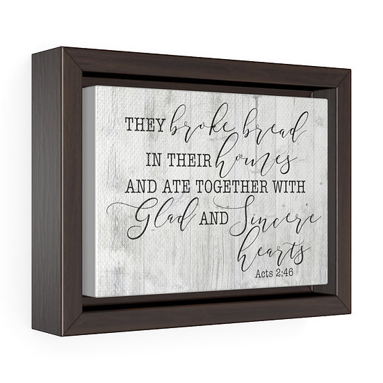 Canvas Print, Gray Scripture Canvas Sign, They Broke Bread Canvas Print, Acts
