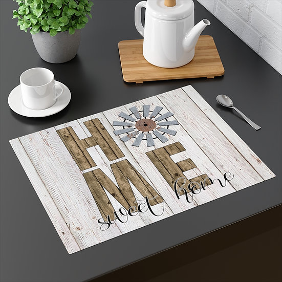 Farmhouse Placemat, Home Sweet Home Windmill, 18 in x 14 in Table Placemats