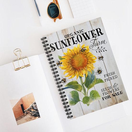 Spiral Notebook, Sunflower Farm Spiral Notebook, Farmhouse Notebook