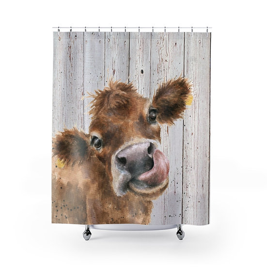 Shower Curtain, Watercolor Cow Wood, Shower Curtains, Calf Fabric Liner