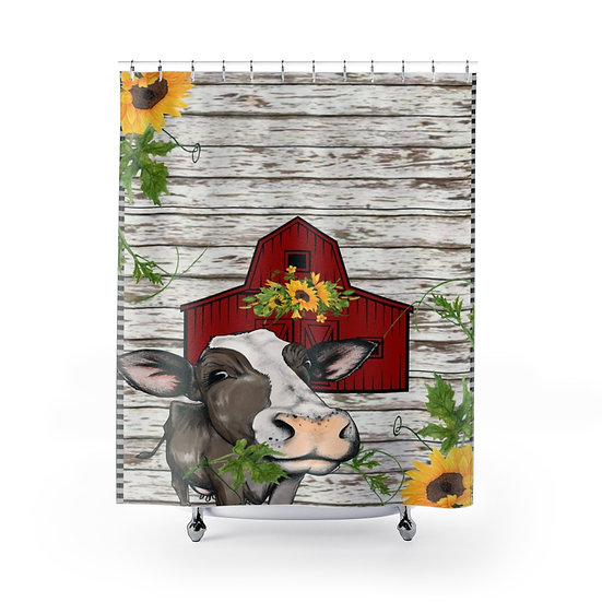 Farmhouse Cow Barn, Personalized Fabric Liner, Family Name Bathroom Decor