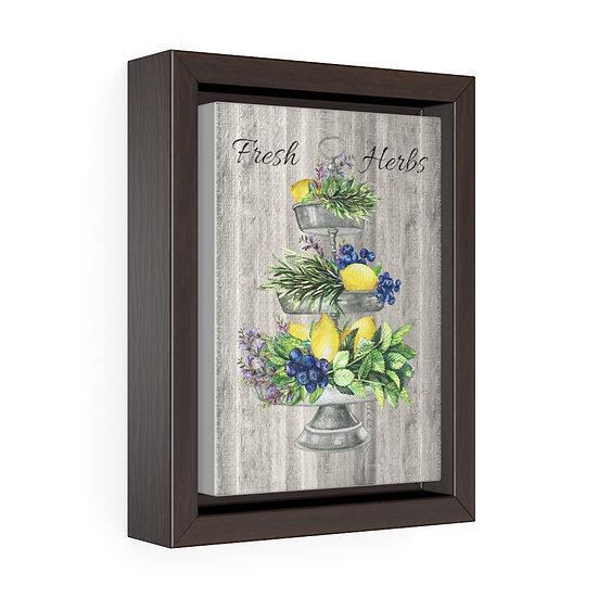 Canvas Print, Fresh Herb Lemon TrayWall Hanging, Vertical Kitchen Wall Art