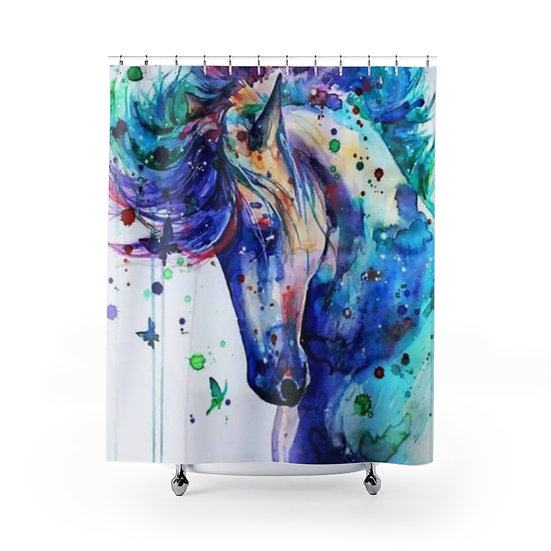 Watercolor Horse Shower Curtains, Horse Lovers Fabric Liner