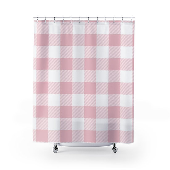Pink Plaid Shower Curtain