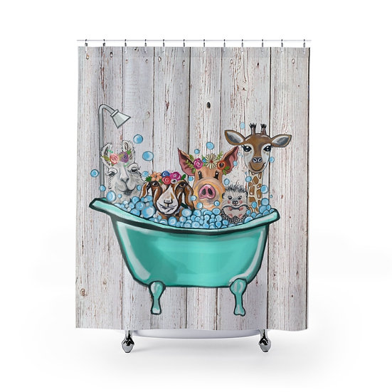 Shower Curtain, Bath Time Friends, Shower Curtains, Animal Fabric Liner, Funny