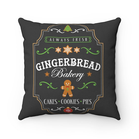 Farmhouse Christmas Pillow, Gingerbread Bakery Christmas Pillow