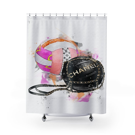 Volleyball Fashion Illustration Shower Curtain