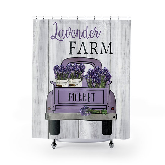 Farmhouse Lavender Truck Shower Curtain