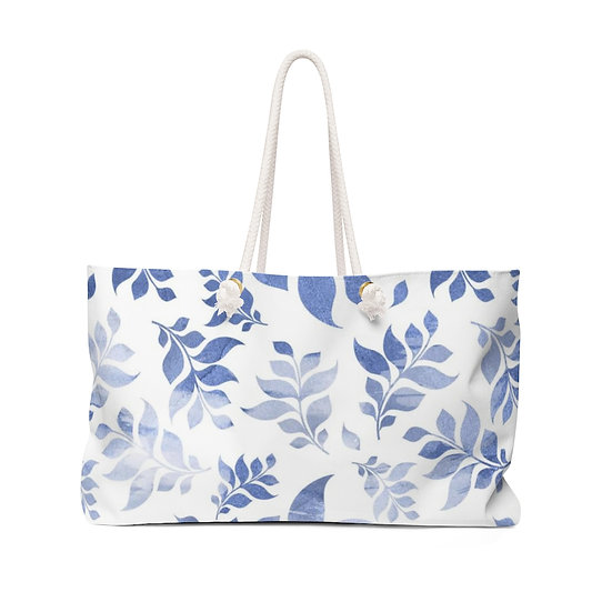 Blue Floral Weekender Bag
