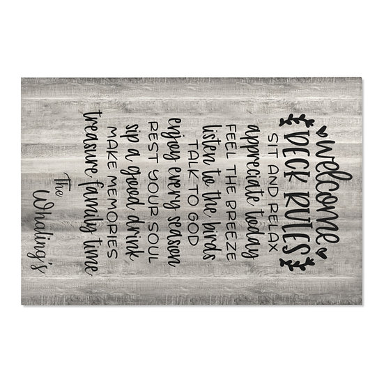 Area Rug, Welcome Deck Rules Rug, Gray Barnwood Print Farmhouse Rug, Country