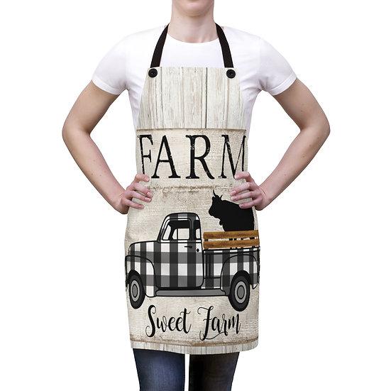 Farmhouse Truck and Cow Apron, Farm Sweet Farm Apron, Chef Apron