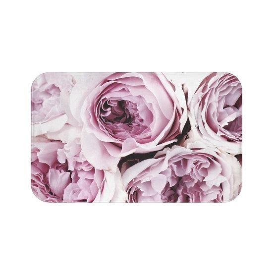 Girls Bath Mat, Pink Peonies Fashion Illustration, Floral Bathroom Decor