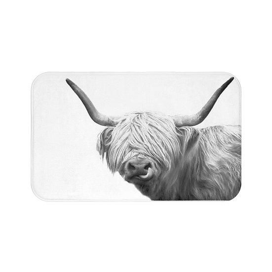 Bath Mat, Highland Cow Bath Mat, Farmhouse Modern Bath Room Accessories