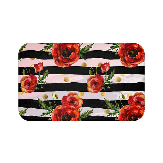 Bath Mat, Poppy Fashion, Pink and Black Floral Fashion Illustration, watercolor