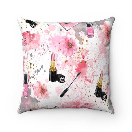 Makeup Fashion Throw Pillows, Pink and Black Fashionista Pillow Decor, Fashion