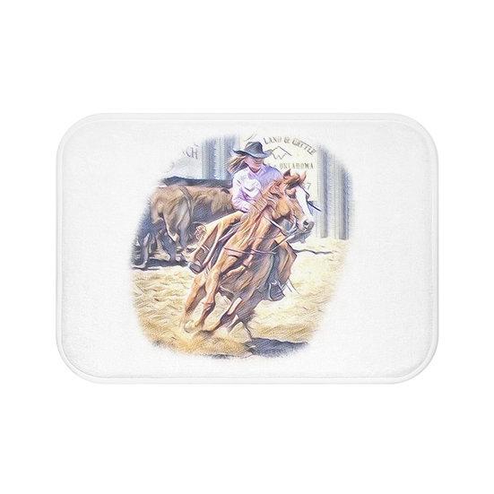 Bath Mat, Barrel Racer Bath Mat, Non Slip Bathroom Rug, Rodeo Farmhouse Bath Mat