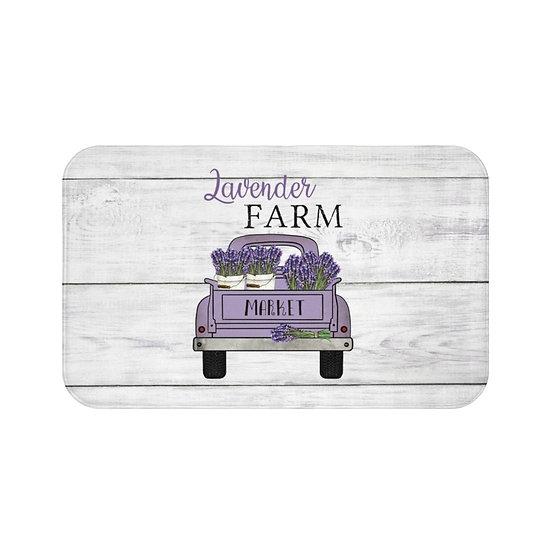 Bath Mat, Lavender Farmhouse Bath Mat, Purple Truck Bath Room Accessories