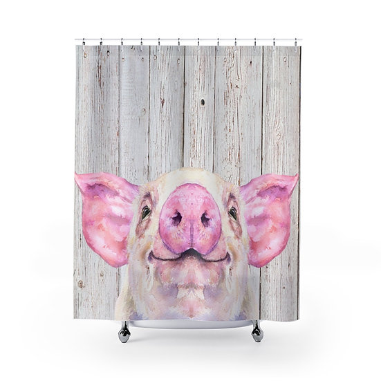 Shower Curtain, Watercolor Wilber the Pig, Cute Piggy Fabric Liner
