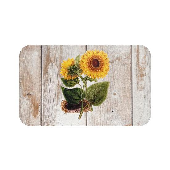 Farmhouse Sunflower Bath Mat, Floral Bathroom Accessories
