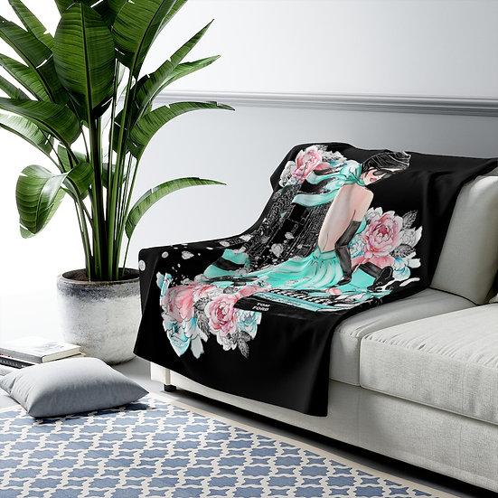 Blanket, Fashion Sherpa Fleece Blanket, Caucasian Fashion, Blue, Make up