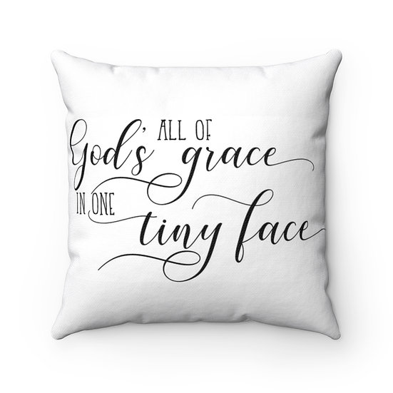 Nursery Pillow, All Gods Grace Farmhouse Nursery Pillow, Nursery Pillow Neutral