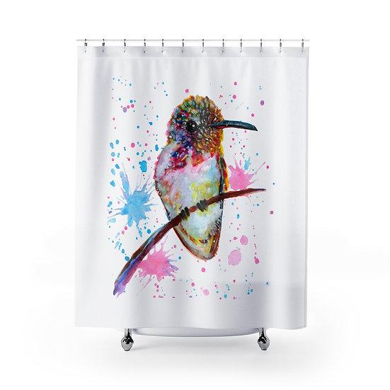 Watercolor Hummingbird Shower Curtains, Bird Fabric Liner, Funny Bathroom Decor