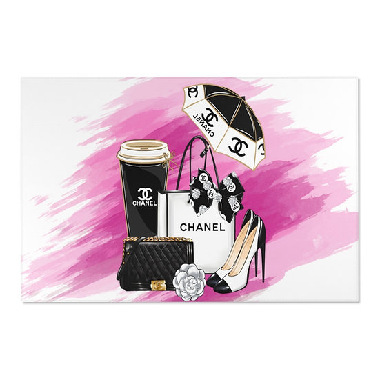 Area Rugs, Fashion Pink and Black Rug, Horizontal Shoes fashionista Rug