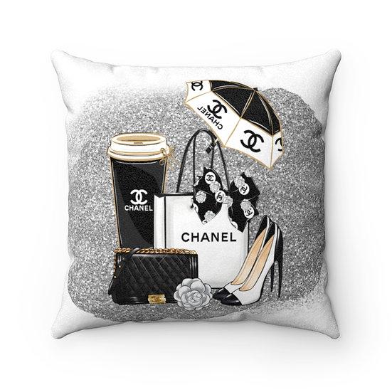 Fashion Throw Pillows, Silver and Black Fashionista Pillow Decor, Fashion