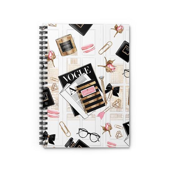 Spiral Notebook, Paris Girl Spiral Notebook, Fashion Girl Notebook, Designer