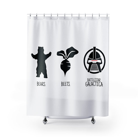 Shower Curtain, Bear Beets Battlestar Glactica The Office, Funny Shower Curtains