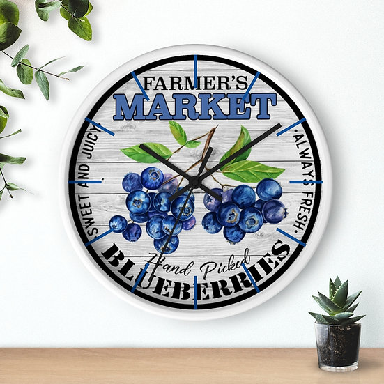 Clock, Fresh Blueberries Clock, 10 in Rustic Farmhouse Country Clock