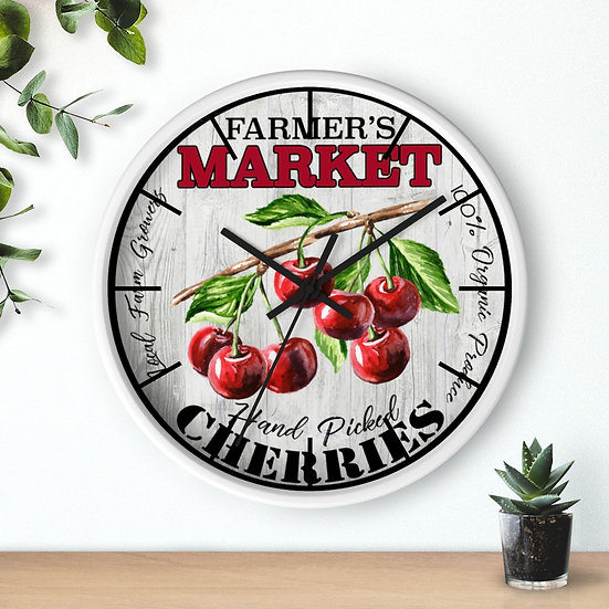 Clock, 10 in Cherry Clock, Rustic Farmhouse Country Clock, Western Ranch Decor