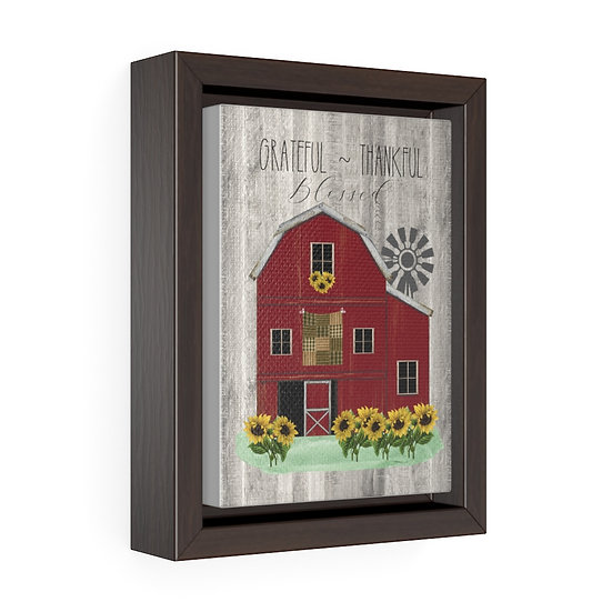Canvas Print, Farmhouse Red Barn Wall Hanging, Vertical Framed Premium Gallery