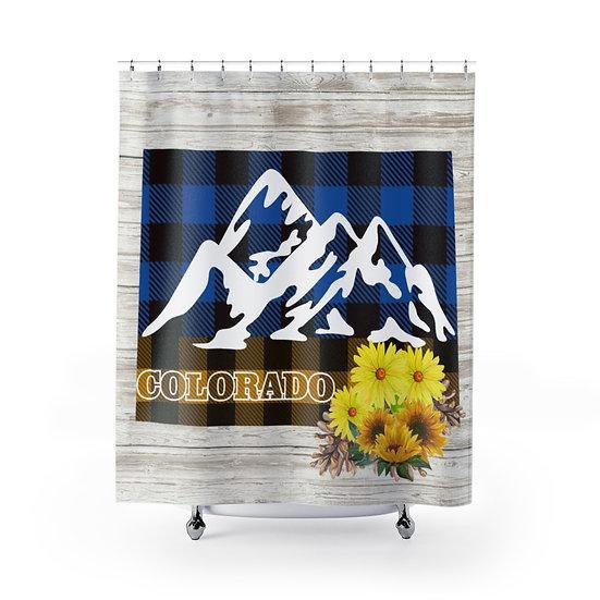 State of Colorado Farmhouse Shower Curtains, Colorado Bathroom Decor