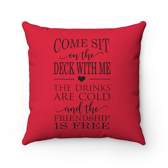Come Sit On The Deck With Me Pillow Red, Patio Pillow, Patio Decor, Deck Decor