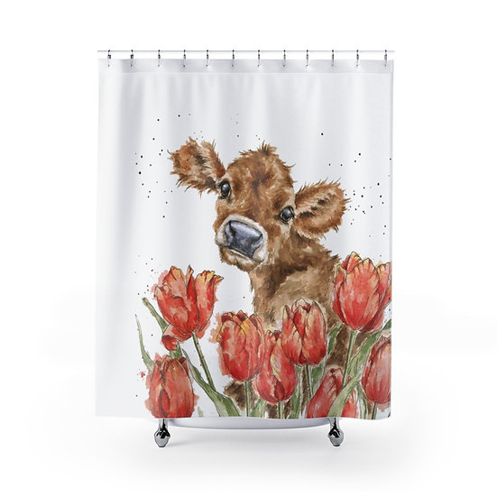 Shower Curtain, Watercolor Cow in the Flowers, Calf Fabric Liner
