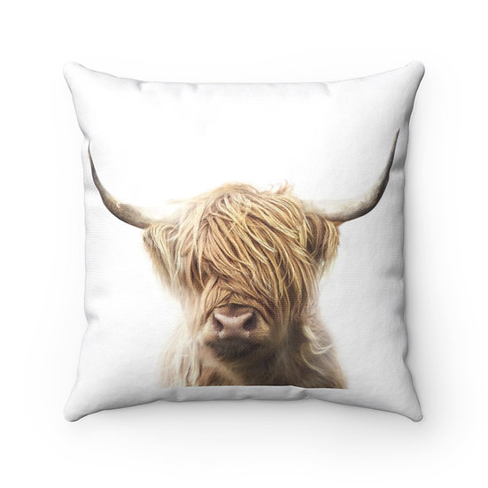 Farmhouse Pillow, Brown Highland Cow, Rustic Country Western Home Decor