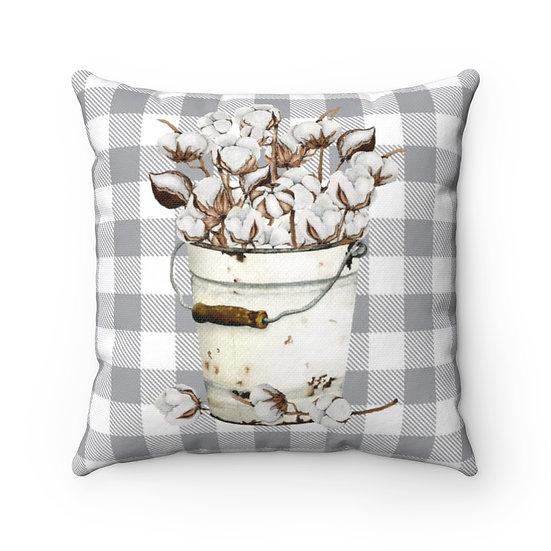 Pillow, Bucket of Cotton Throw Pillow, Farmhouse Pillow, Gray White Pillow Decor