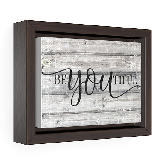 Canvas Print, Be-YOU-tiful Grey Rustic Farmhouse Country Wall Hanging