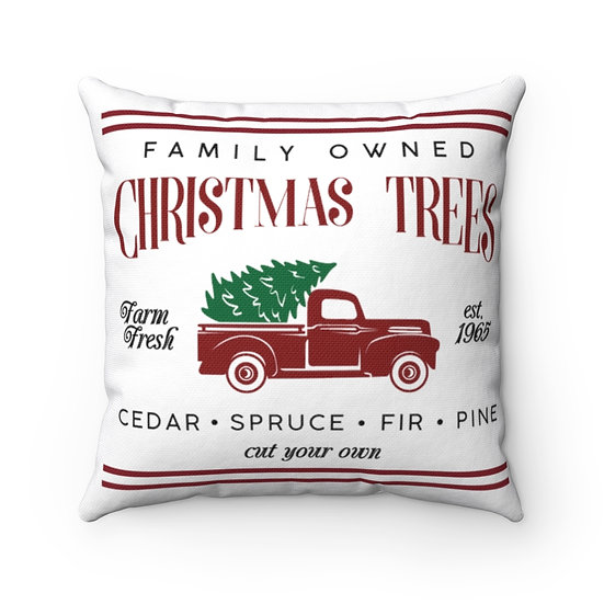 Christmas Red Truck, Christmas Red Truck Pillow, Red Truck Christmas Pillow
