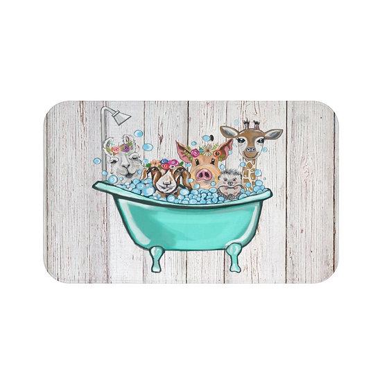 Bath Mat, Bath Time Friends Bath Mat, Animal Non Slip Bathroom Rug, Bathroom