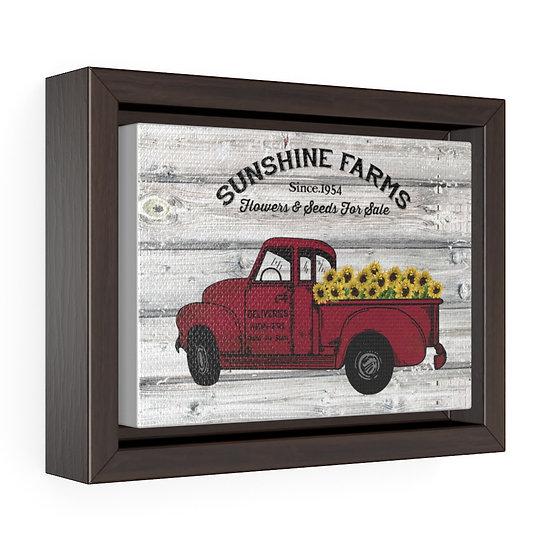 Canvas Print, Farmhouse Sunflower Red Truck, Kitchen Wall Art, Horizontal Framed