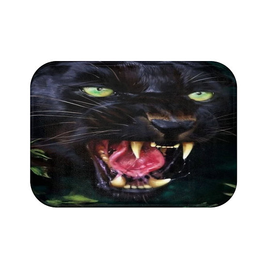 Black Panther Bath Mat, Exotic Bathroom Decor, Big Cat Decorative Bath