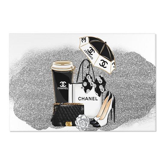 Area Rugs, Fashionista Silver and Black Rug, Horizontal Shoes fashionista Rug