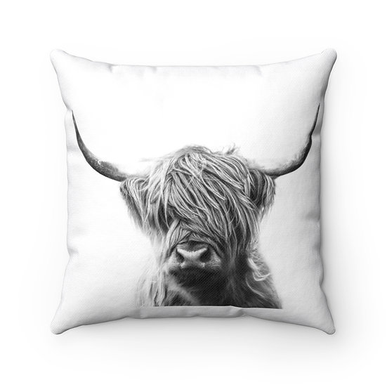 Highland Cow Throw Pillow, Rustic Country Western Home Decor, Cow Lovers Gift