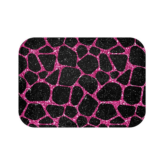 Black & Pink Glam Fashion Bath Mat, Animal Print Fashionista Bath Mat