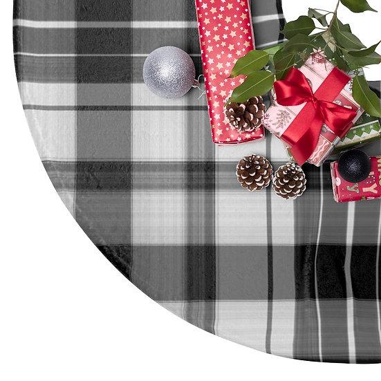 Christmas Tree Skirts, Black and White Plaid Christmas Decor,