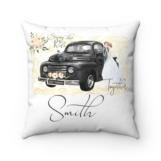 Personalized Wedding Pillow,Enjoy the Ride Together Marriage Pillow, Ring Pillow